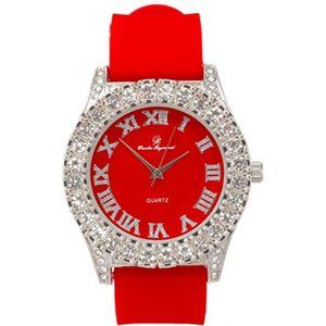 Men Iced Out Watch Red/Silver